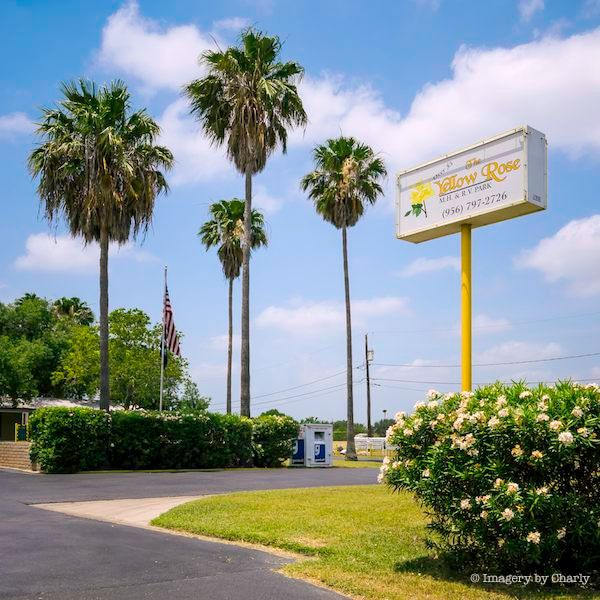 Yellow Rose MH & RV Park entrance with palm trees